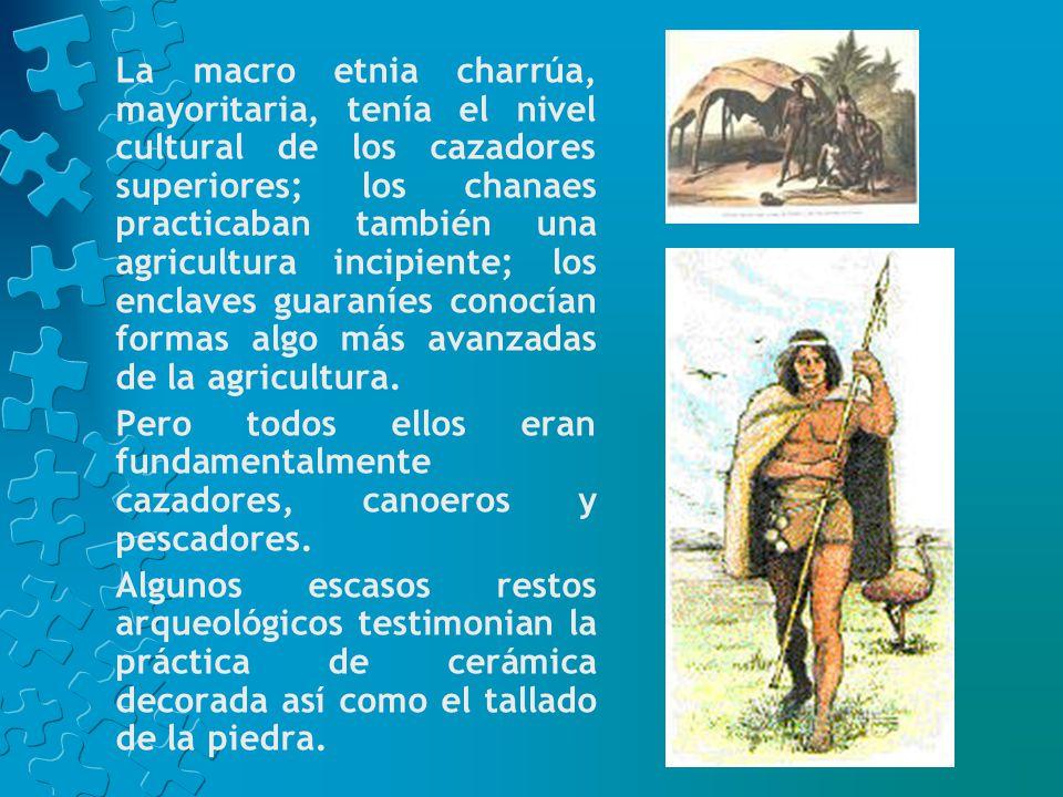 La macro etnia charrúa, mayoritaria, tenía el nivel cultural de los cazadores superiores; los chanaes practicaban también una agricultura incipiente; los enclaves guaraníes conocían formas algo más avanzadas de la agricultura.