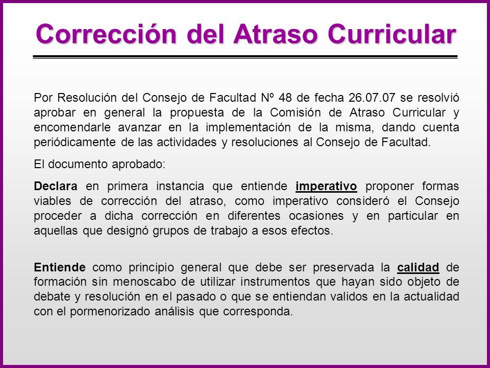 Corrección del Atraso Curricular Por Resolución del Consejo de Facultad Nº 48 de fecha 26.07.07 se resolvió aprobar en general la propuesta de la Comisión de Atraso Curricular y encomendarle avanzar en la implementación de la misma, dando cuenta periódicamente de las actividades y resoluciones al Consejo de Facultad.