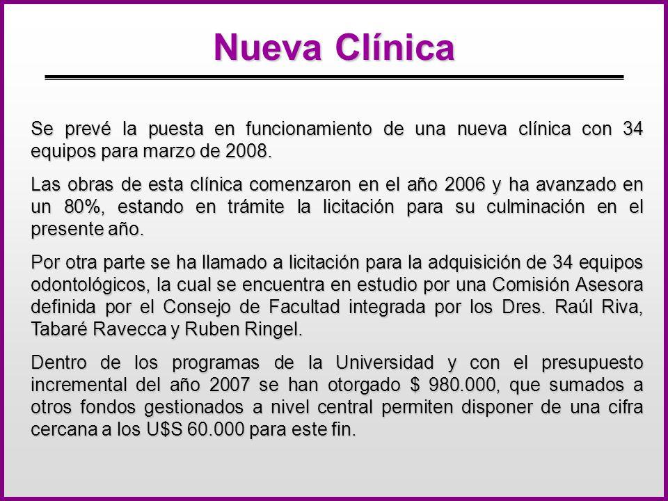 Nueva Clínica Se prevé la puesta en funcionamiento de una nueva clínica con 34 equipos para marzo de 2008. Las obras de esta clínica comenzaron en el