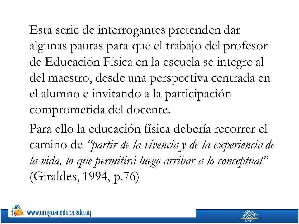 Adaptado de: GIRALDES, Mariano, Didáctica de una cultura de lo corporal, 1994, Edición del autor, Bs.