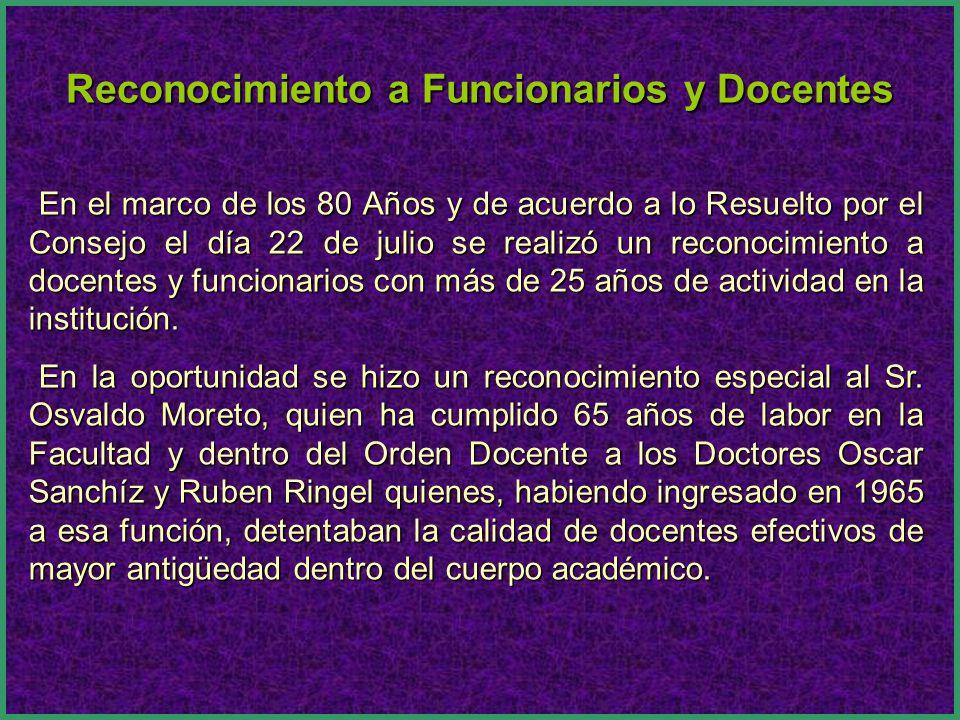 Reconocimiento a Funcionarios y Docentes en el marco de los 80 Años de la Facultad.