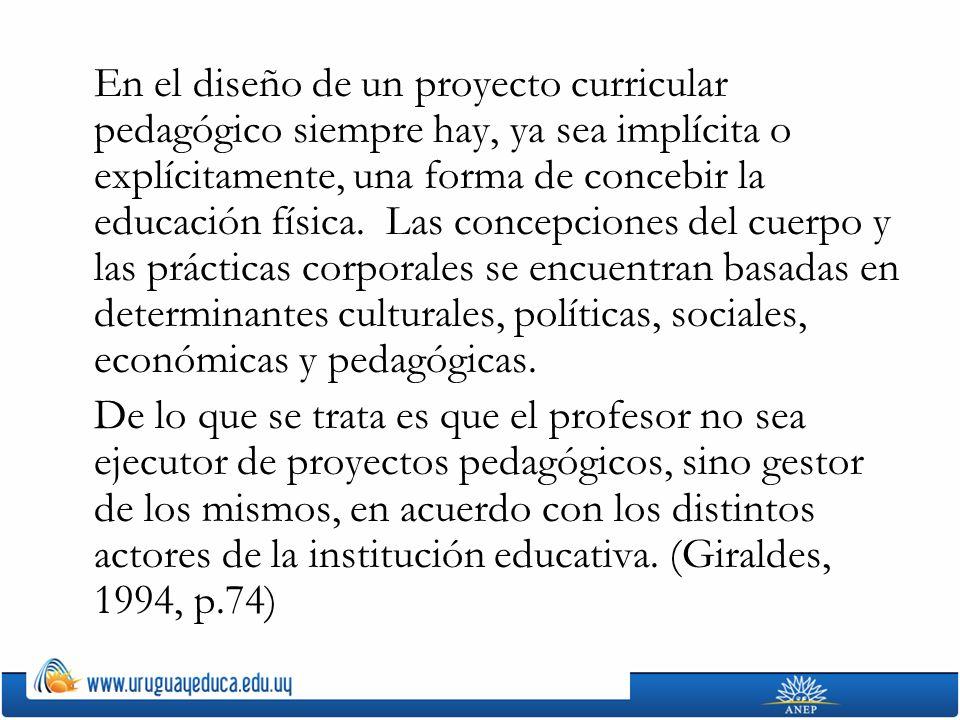 En el diseño de un proyecto curricular pedagógico siempre hay, ya sea implícita o explícitamente, una forma de concebir la educación física. Las conce