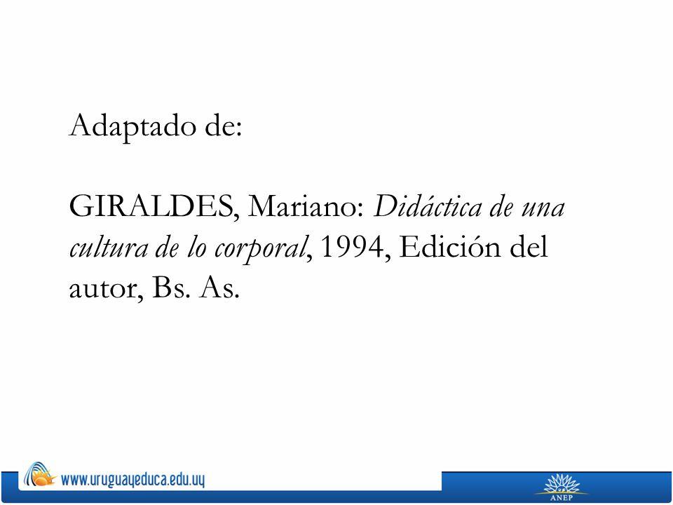 Adaptado de: GIRALDES, Mariano: Didáctica de una cultura de lo corporal, 1994, Edición del autor, Bs. As.