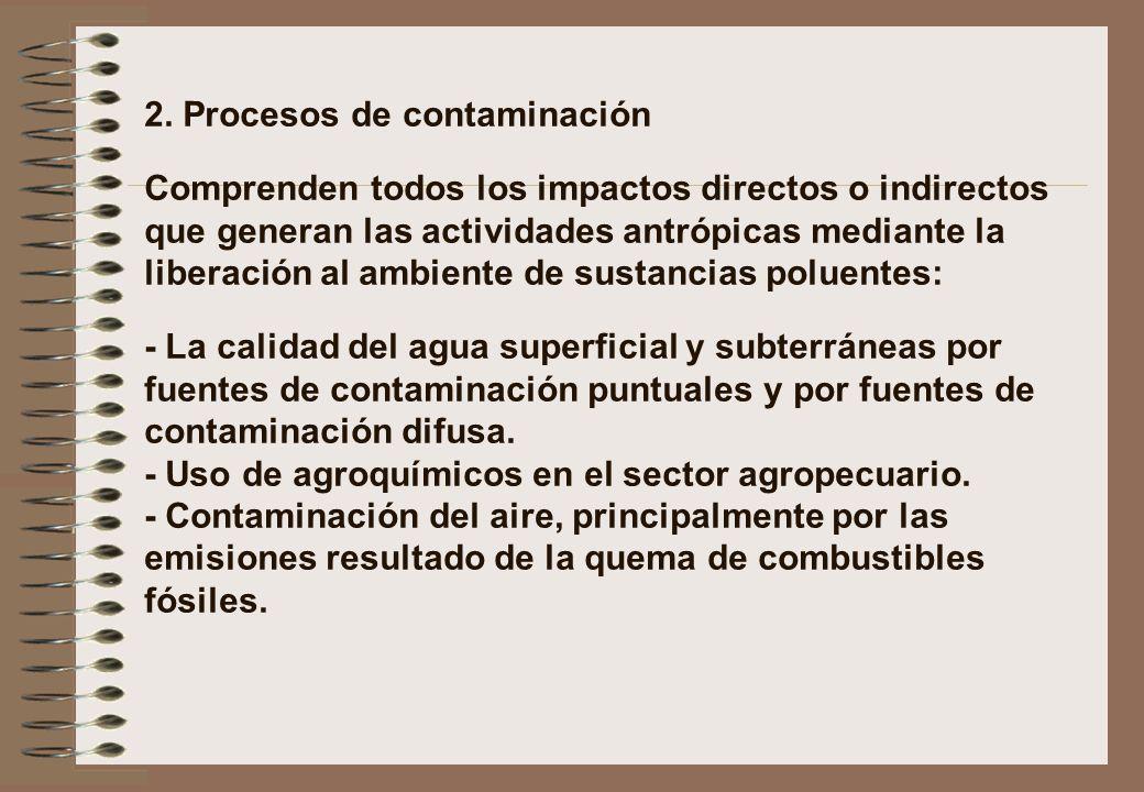 2. Procesos de contaminación Comprenden todos los impactos directos o indirectos que generan las actividades antrópicas mediante la liberación al ambi
