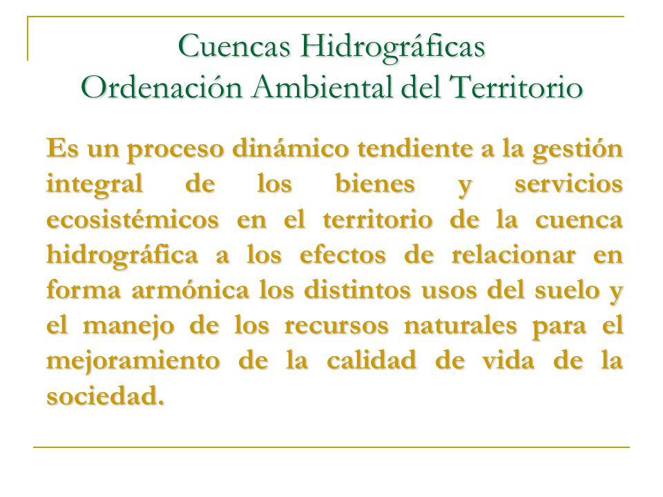 Cuencas Hidrográficas Ordenación Ambiental del Territorio Es un proceso dinámico tendiente a la gestión integral de los bienes y servicios ecosistémic