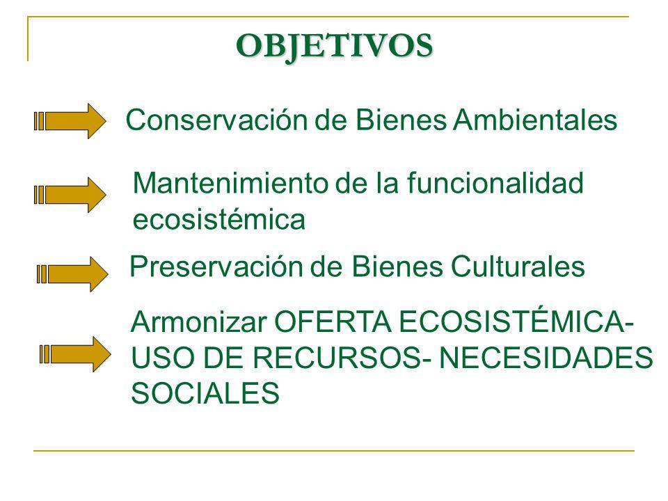 OBJETIVOS Conservación de Bienes Ambientales Mantenimiento de la funcionalidad ecosistémica Preservación de Bienes Culturales Armonizar OFERTA ECOSISTÉMICA- USO DE RECURSOS- NECESIDADES SOCIALES
