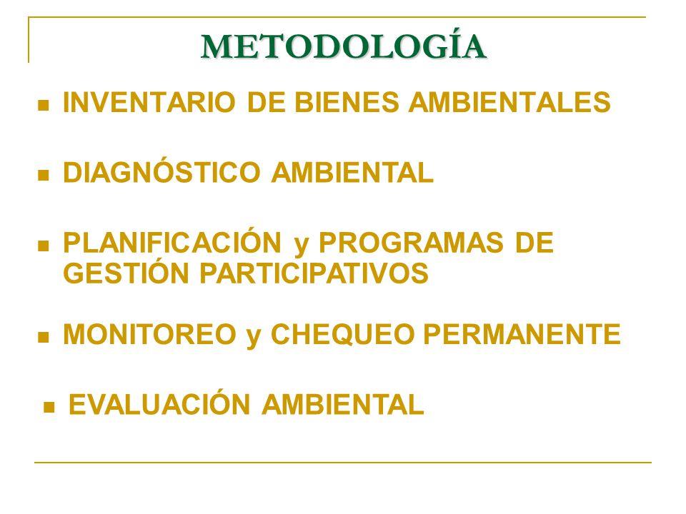 METODOLOGÍA INVENTARIO DE BIENES AMBIENTALES DIAGNÓSTICO AMBIENTAL PLANIFICACIÓN y PROGRAMAS DE GESTIÓN PARTICIPATIVOS MONITOREO y CHEQUEO PERMANENTE EVALUACIÓN AMBIENTAL