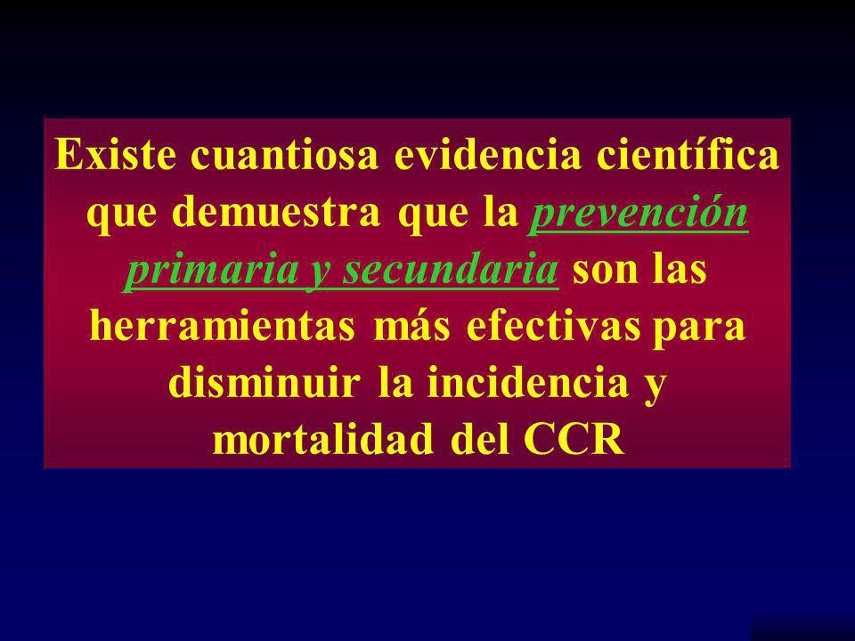 NCCH Existe cuantiosa evidencia científica que demuestra que la prevención primaria y secundaria son las herramientas más efectivas para disminuir la incidencia y mortalidad del CCR