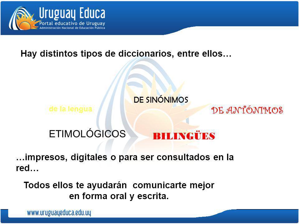 Hay distintos tipos de diccionarios, entre ellos… Todos ellos te ayudarán comunicarte mejor en forma oral y escrita. de la lengua DE SINÓNIMOS DE ANTÓ