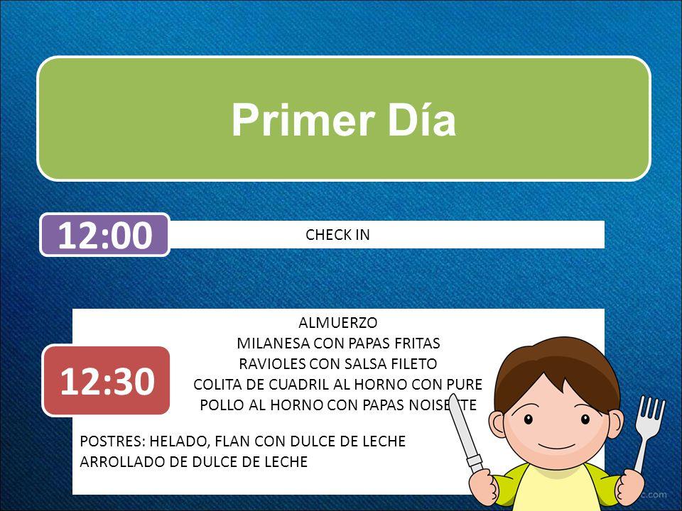 Primer Día CHECK IN 12:00 ALMUERZO MILANESA CON PAPAS FRITAS RAVIOLES CON SALSA FILETO COLITA DE CUADRIL AL HORNO CON PURE POLLO AL HORNO CON PAPAS NO