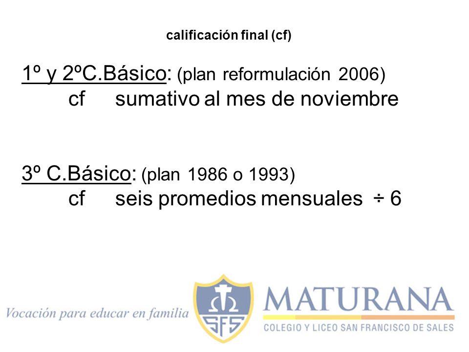 1º y 2ºC.Básico: (plan reformulación 2006) cf sumativo al mes de noviembre 3º C.Básico: (plan 1986 o 1993) cfseis promedios mensuales ÷ 6 calificación final (cf)