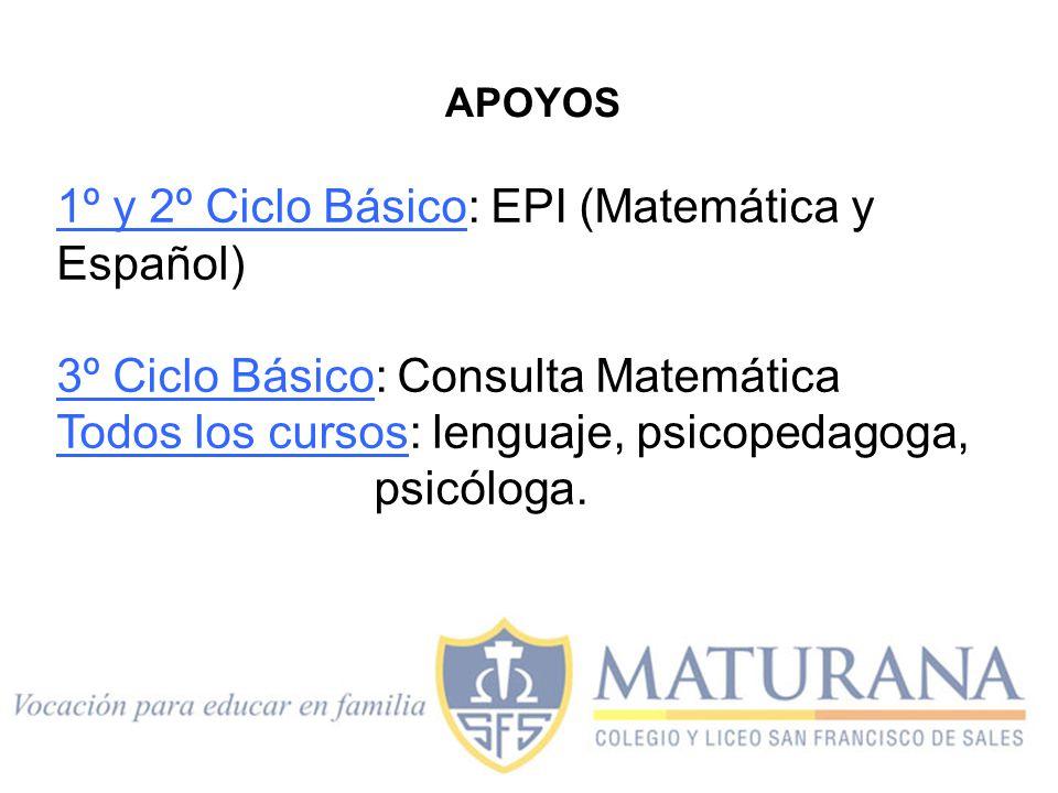 1º y 2º Ciclo Básico: EPI (Matemática y Español) 3º Ciclo Básico: Consulta Matemática Todos los cursos: lenguaje, psicopedagoga, psicóloga. APOYOS