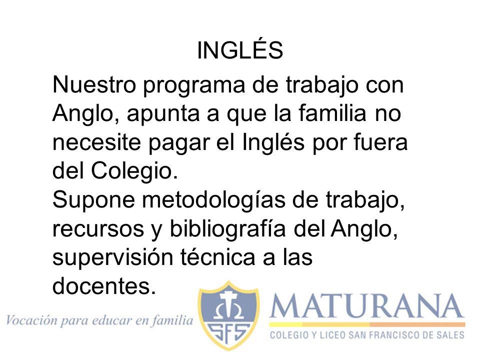 Nuestro programa de trabajo con Anglo, apunta a que la familia no necesite pagar el Inglés por fuera del Colegio. Supone metodologías de trabajo, recu