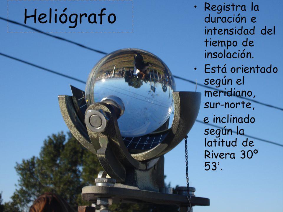 Heliógrafo Registra la duración e intensidad del tiempo de insolación. Está orientado según el meridiano, sur-norte, e inclinado según la latitud de R