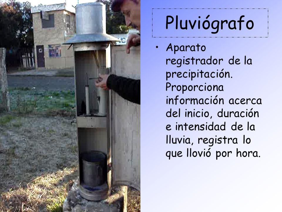 Pluviógrafo Aparato registrador de la precipitación. Proporciona información acerca del inicio, duración e intensidad de la lluvia, registra lo que ll