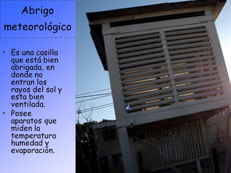 Abrigo meteorológico Es una casilla que está bien abrigada, en donde no entran los rayos del sol y esta bien ventilada. Posee aparatos que miden la te