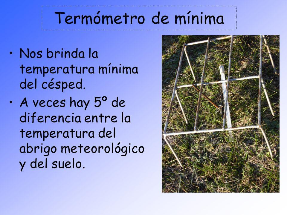 Termómetro de mínima Nos brinda la temperatura mínima del césped. A veces hay 5º de diferencia entre la temperatura del abrigo meteorológico y del sue