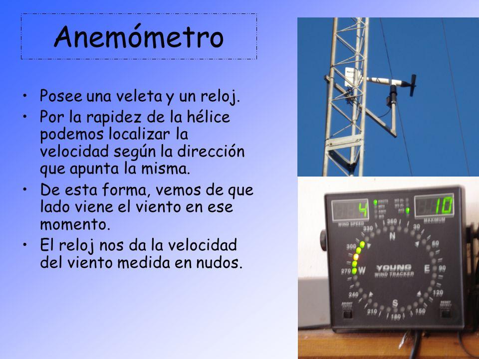 Anemómetro Posee una veleta y un reloj. Por la rapidez de la hélice podemos localizar la velocidad según la dirección que apunta la misma. De esta for