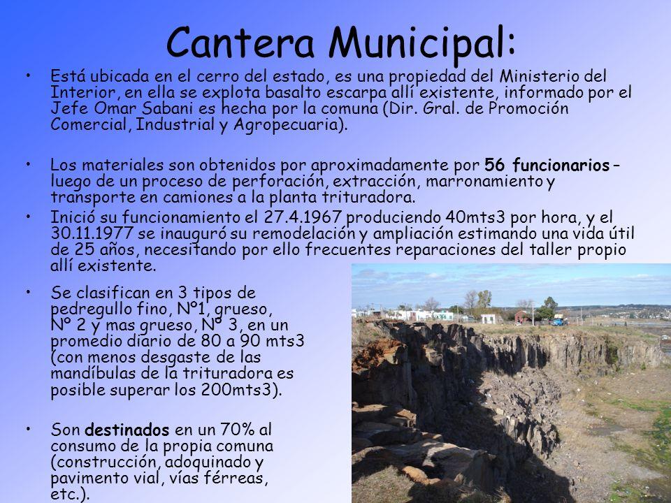 Cantera Municipal: Está ubicada en el cerro del estado, es una propiedad del Ministerio del Interior, en ella se explota basalto escarpa allí existent