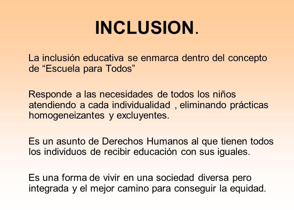 INCLUSION. La inclusión educativa se enmarca dentro del concepto de Escuela para Todos Responde a las necesidades de todos los niños atendiendo a cada