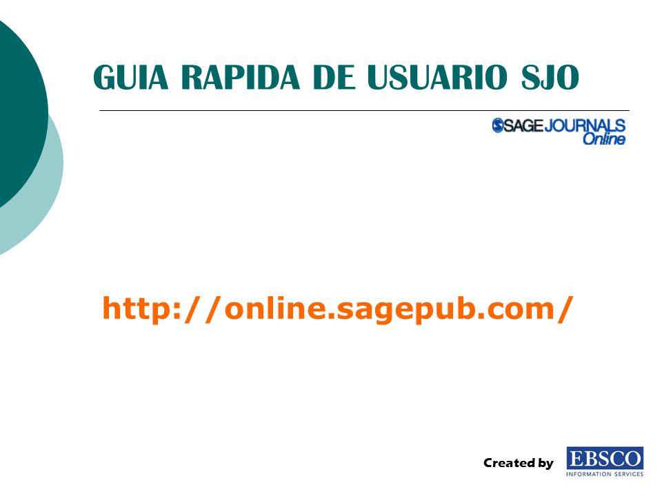 GUIA RAPIDA DE USUARIO SJO http://online.sagepub.com/ Created by