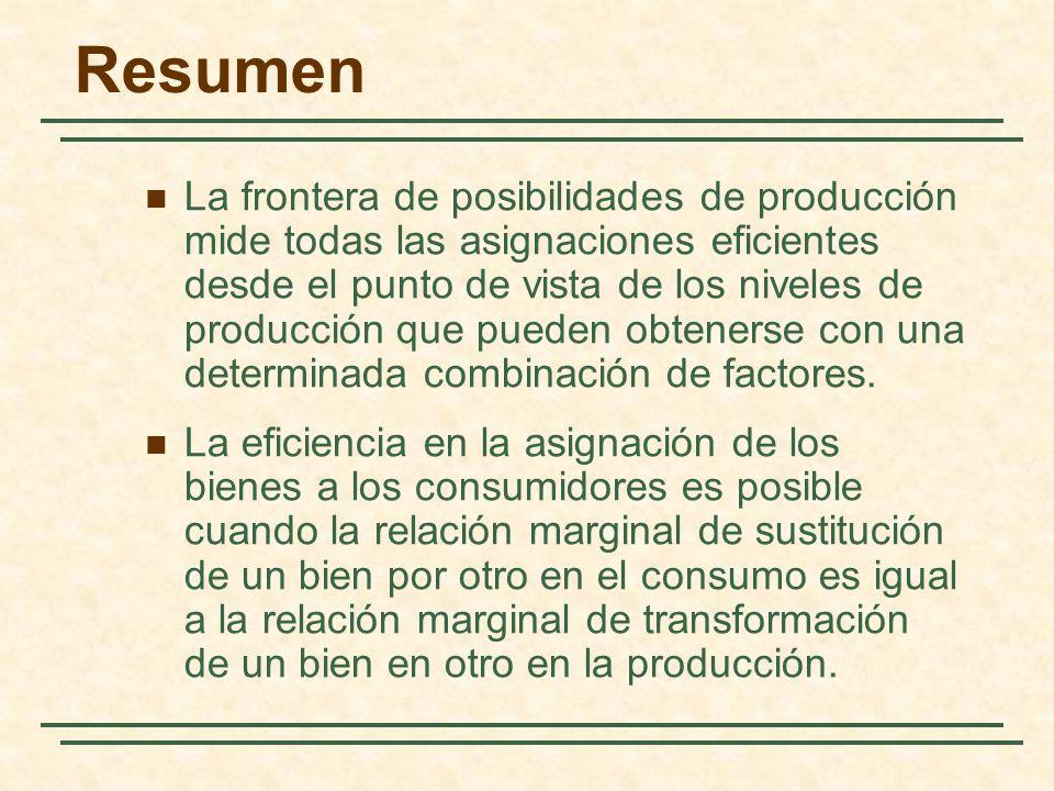 Resumen La frontera de posibilidades de producción mide todas las asignaciones eficientes desde el punto de vista de los niveles de producción que pueden obtenerse con una determinada combinación de factores.