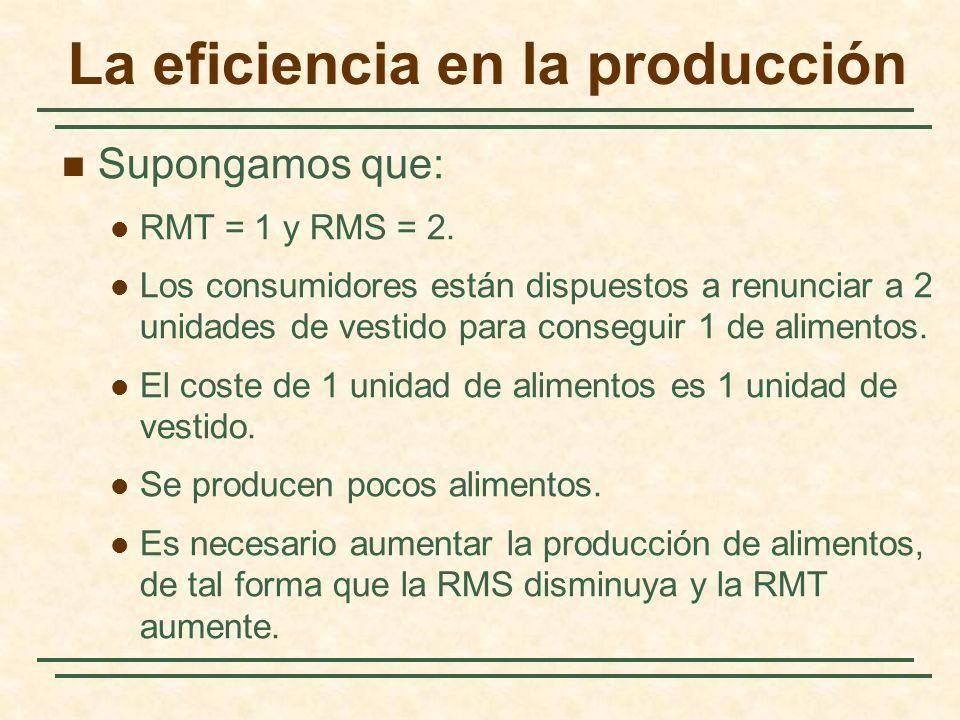 La eficiencia en la producción Supongamos que: RMT = 1 y RMS = 2. Los consumidores están dispuestos a renunciar a 2 unidades de vestido para conseguir