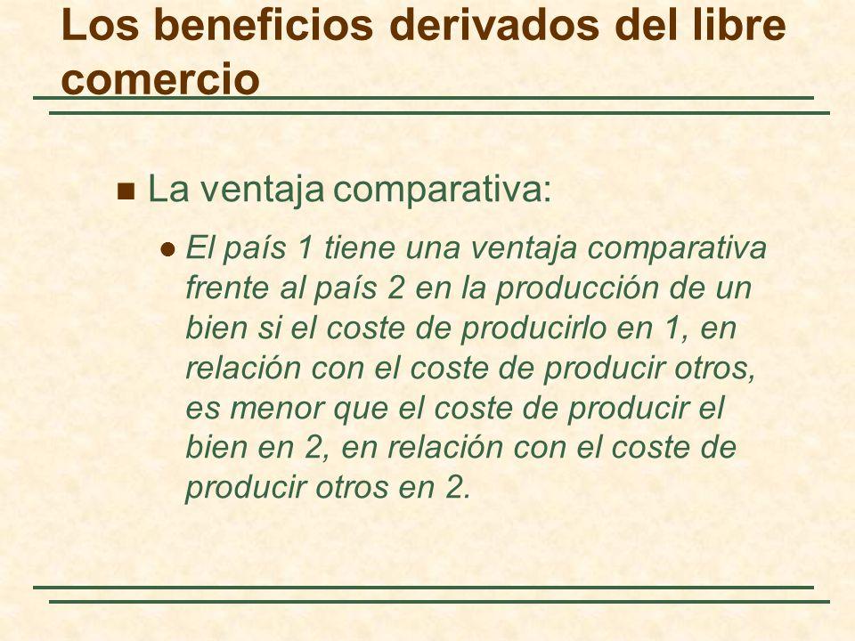 Los beneficios derivados del libre comercio La ventaja comparativa: El país 1 tiene una ventaja comparativa frente al país 2 en la producción de un bien si el coste de producirlo en 1, en relación con el coste de producir otros, es menor que el coste de producir el bien en 2, en relación con el coste de producir otros en 2.