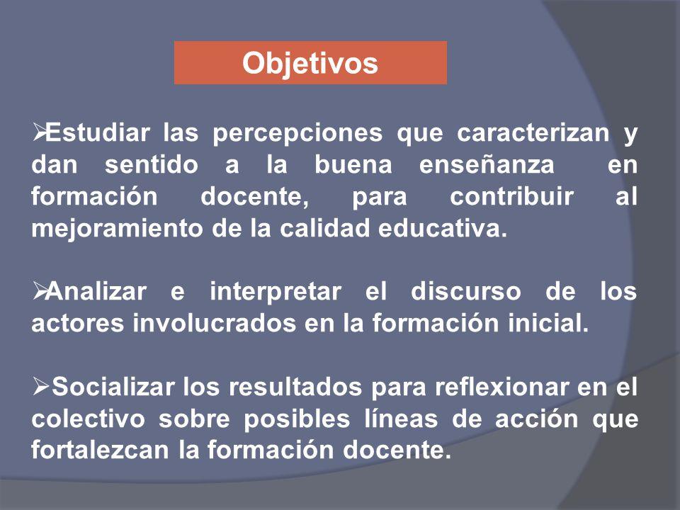 Estudiar las percepciones que caracterizan y dan sentido a la buena enseñanza en formación docente, para contribuir al mejoramiento de la calidad educ