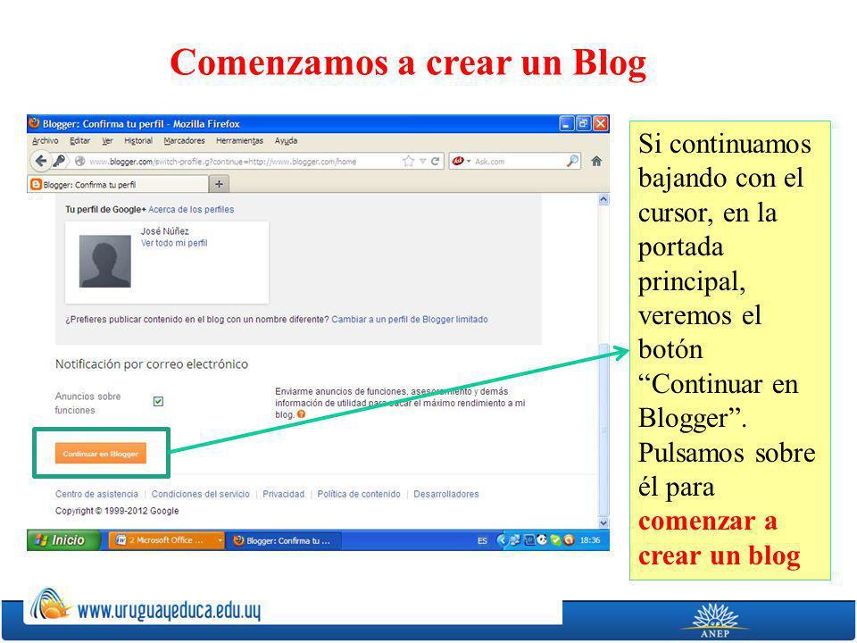Si continuamos bajando con el cursor, en la portada principal, veremos el botón Continuar en Blogger.