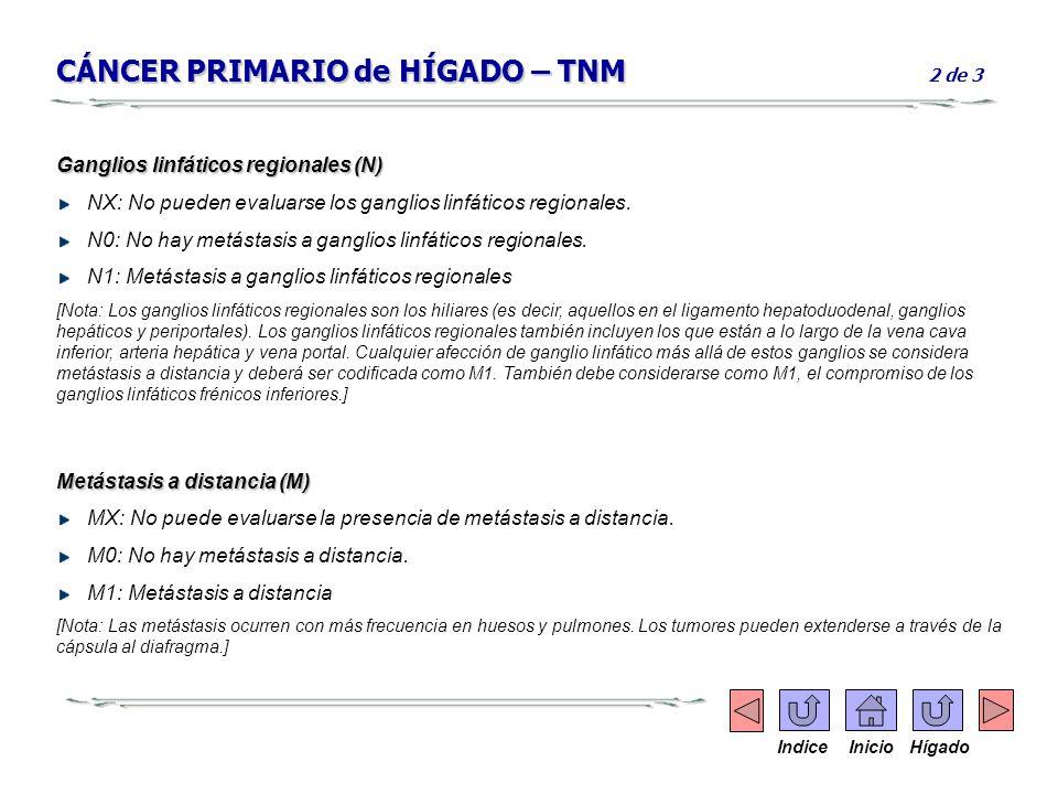 CÁNCER PRIMARIO de HÍGADO – TNM CÁNCER PRIMARIO de HÍGADO – TNM 2 de 3 Ganglios linfáticos regionales (N) NX: No pueden evaluarse los ganglios linfáti