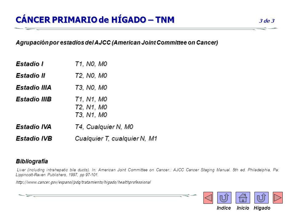 CÁNCER PRIMARIO de HÍGADO – TNM CÁNCER PRIMARIO de HÍGADO – TNM 3 de 3 Agrupación por estadios del AJCC (American Joint Committee on Cancer) Estadio I