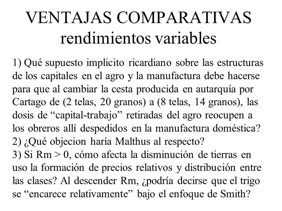 VENTAJAS COMPARATIVAS rendimientos variables 1) Qué supuesto implicito ricardiano sobre las estructuras de los capitales en el agro y la manufactura d