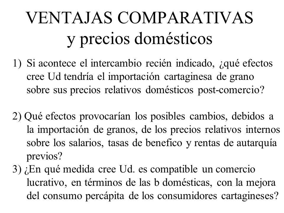 VENTAJAS COMPARATIVAS y precios domésticos 1)Si acontece el intercambio recién indicado, ¿qué efectos cree Ud tendría el importación cartaginesa de gr