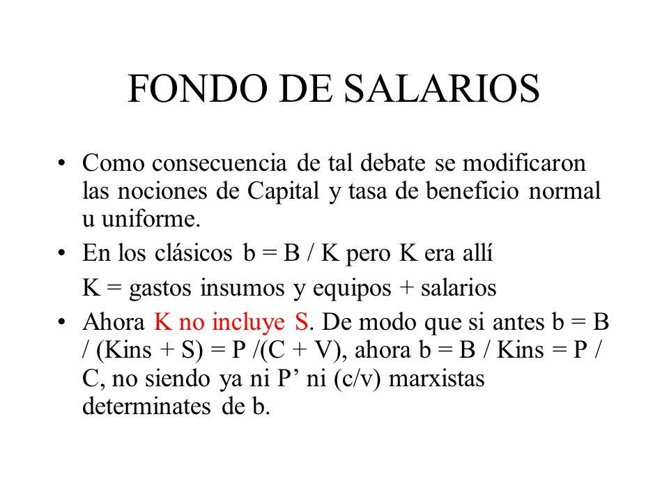 FONDO DE SALARIOS Como consecuencia de tal debate se modificaron las nociones de Capital y tasa de beneficio normal u uniforme. En los clásicos b = B