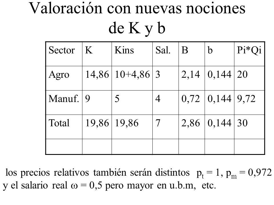SectorKKinsSal.BbPi*Qi Agro14,8610+4,8632,140,14420 Manuf.9540,720,1449,72 Total19,86 72,860,14430 Valoración con nuevas nociones de K y b los precios