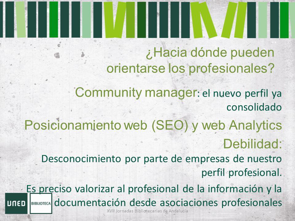 ¿Hacia dónde pueden orientarse los profesionales? Community manager : el nuevo perfil ya consolidado Posicionamiento web (SEO) y web Analytics Debilid