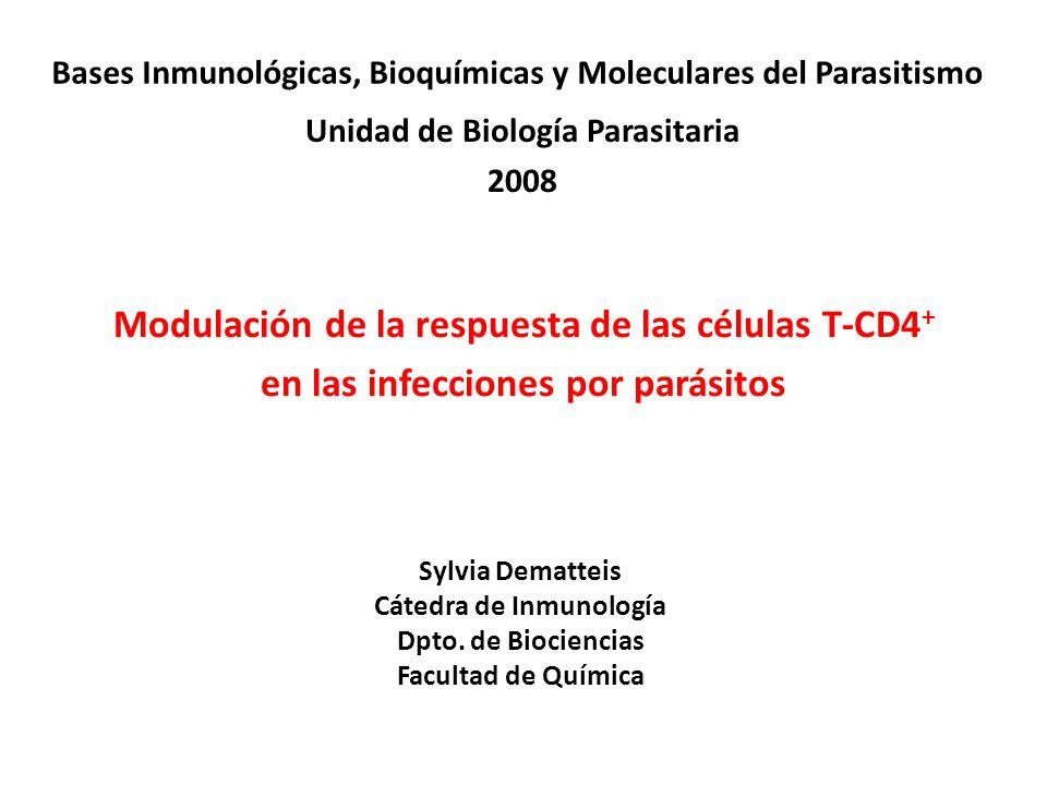 Sylvia Dematteis Cátedra de Inmunología Dpto. de Biociencias Facultad de Química Modulación de la respuesta de las células T-CD4 + en las infecciones