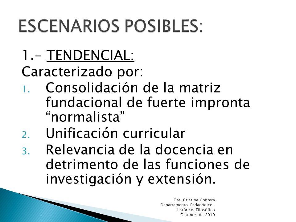 1.- TENDENCIAL: Caracterizado por: 1. Consolidación de la matriz fundacional de fuerte impronta normalista 2. Unificación curricular 3. Relevancia de