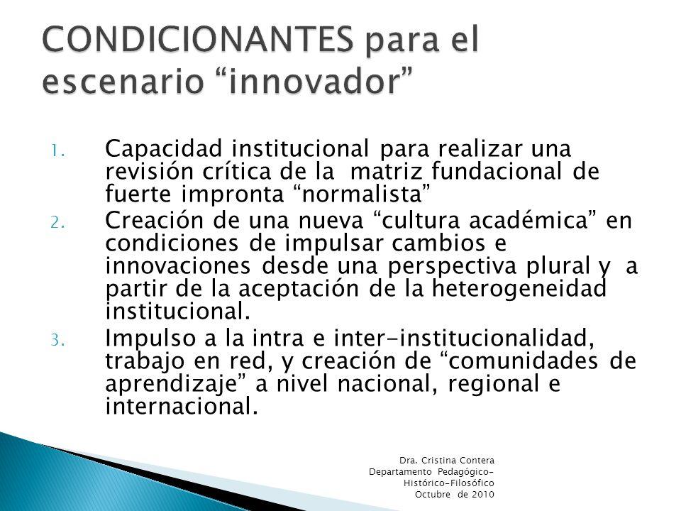 1. Capacidad institucional para realizar una revisión crítica de la matriz fundacional de fuerte impronta normalista 2. Creación de una nueva cultura