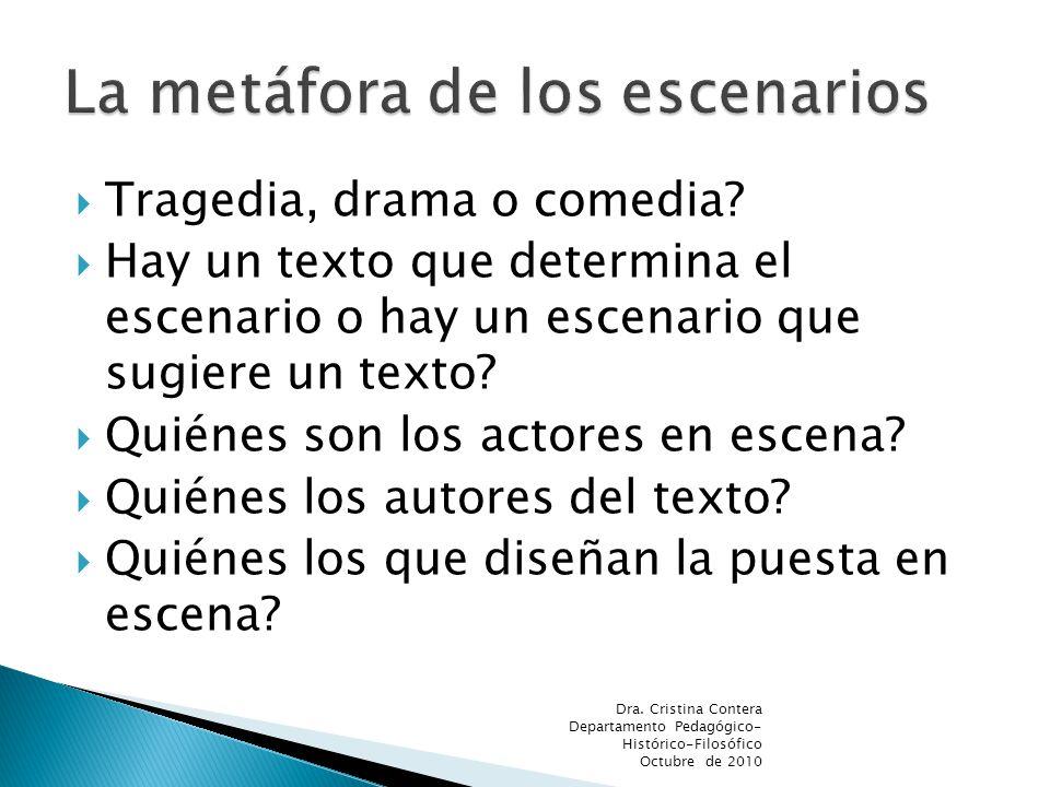 Tragedia, drama o comedia? Hay un texto que determina el escenario o hay un escenario que sugiere un texto? Quiénes son los actores en escena? Quiénes