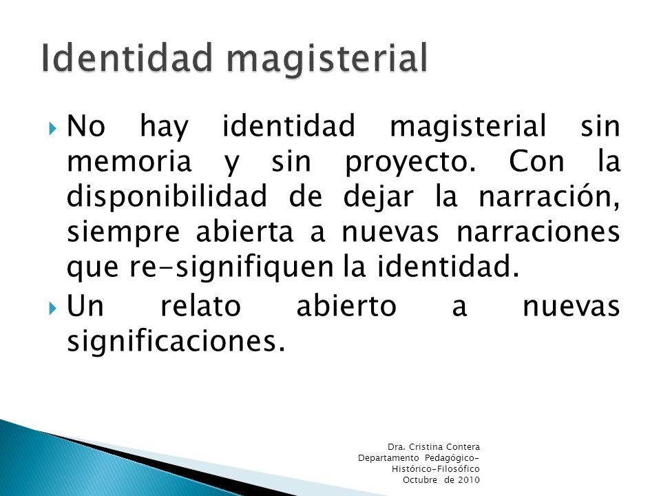 No hay identidad magisterial sin memoria y sin proyecto.
