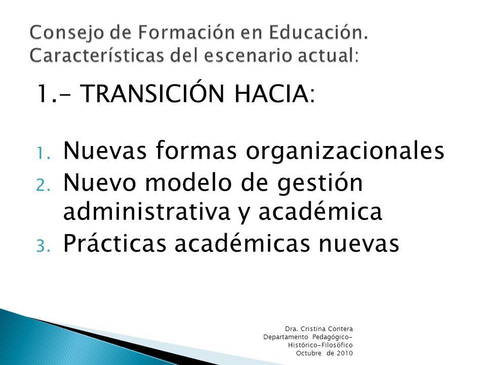 1.- TRANSICIÓN HACIA: 1. Nuevas formas organizacionales 2. Nuevo modelo de gestión administrativa y académica 3. Prácticas académicas nuevas Dra. Cris