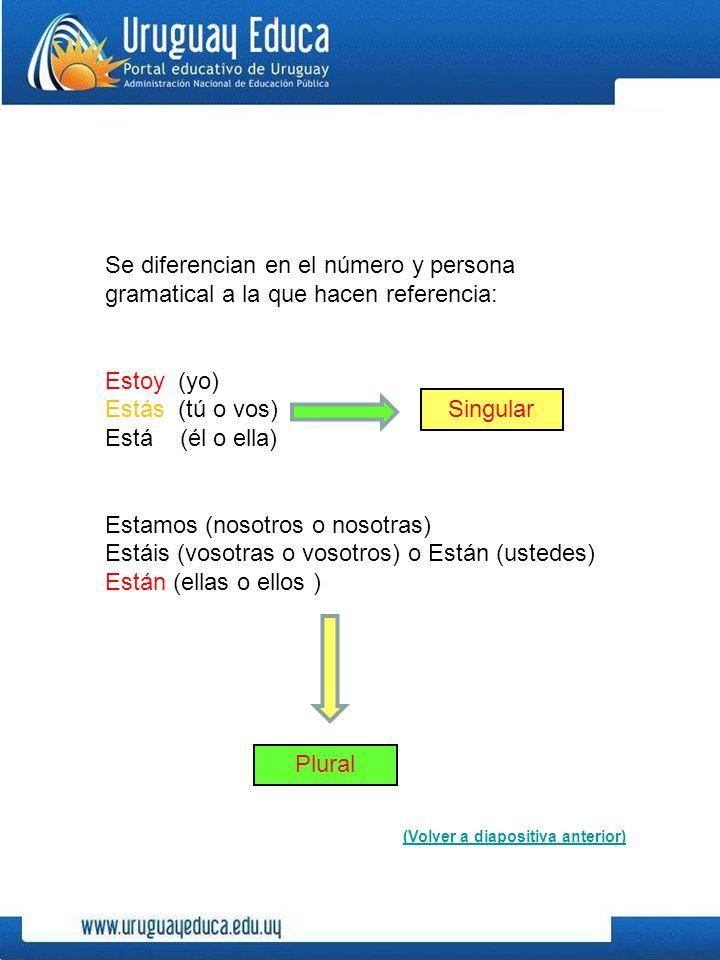 Se diferencian en el número y persona gramatical a la que hacen referencia: Estoy (yo) Estás (tú o vos) Está (él o ella) Estamos (nosotros o nosotras) Estáis (vosotras o vosotros) o Están (ustedes) Están (ellas o ellos ) (Volver a diapositiva anterior) Singular Plural