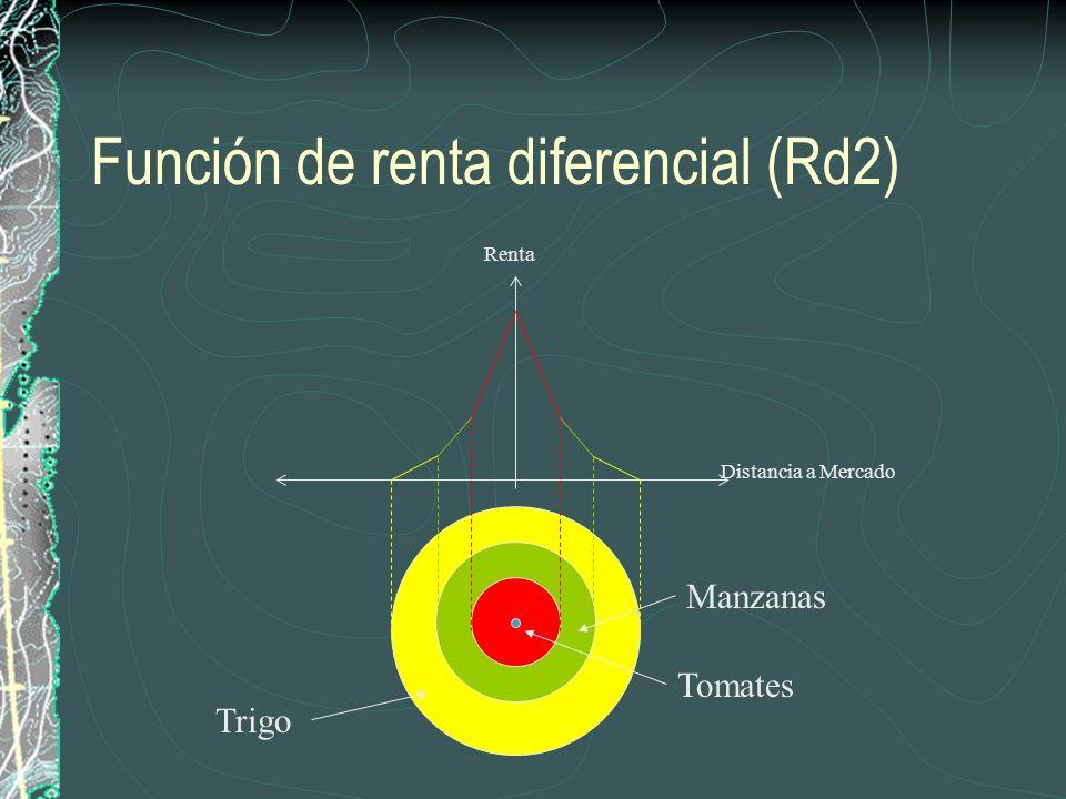 Función de renta diferencial (Rd2) Renta Tomates Manzanas Distancia a Mercado Trigo