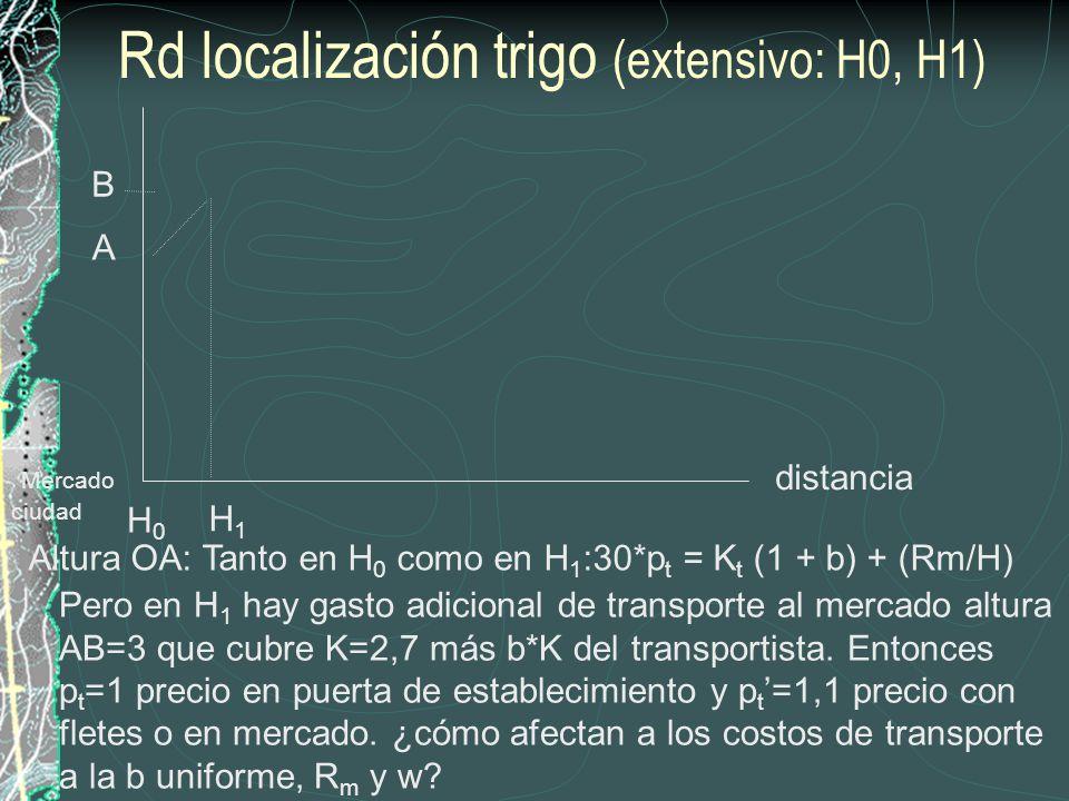 distancia H1H1 Rd localización trigo (extensivo: H0, H1) Mercado ciudad A Altura OA: Tanto en H 0 como en H 1 :30*p t = K t (1 + b) + (Rm/H) Pero en H