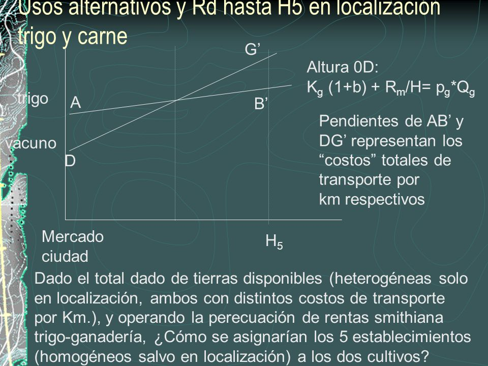 Altura 0D: K g (1+b) + R m /H= p g *Q g trigo H5H5 vacuno Usos alternativos y Rd hasta H5 en localización trigo y carne Mercado ciudad Dado el total d
