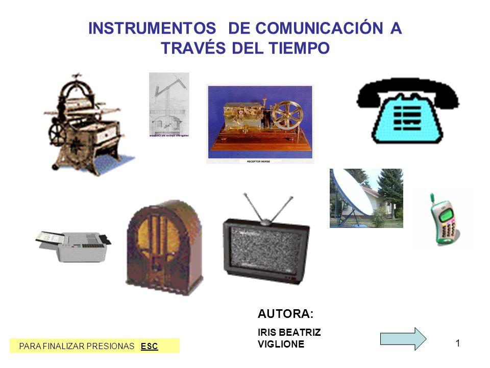 1 INSTRUMENTOS DE COMUNICACIÓN A TRAVÉS DEL TIEMPO AUTORA: IRIS BEATRIZ VIGLIONE PARA FINALIZAR PRESIONAS ESC