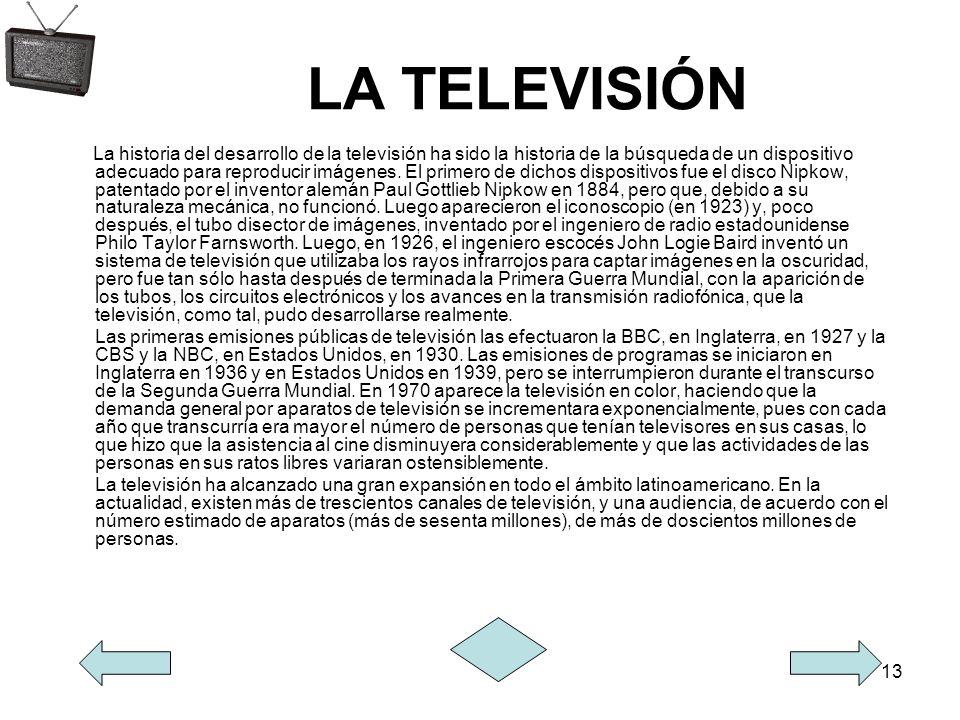 13 LA TELEVISIÓN La historia del desarrollo de la televisión ha sido la historia de la búsqueda de un dispositivo adecuado para reproducir imágenes. E