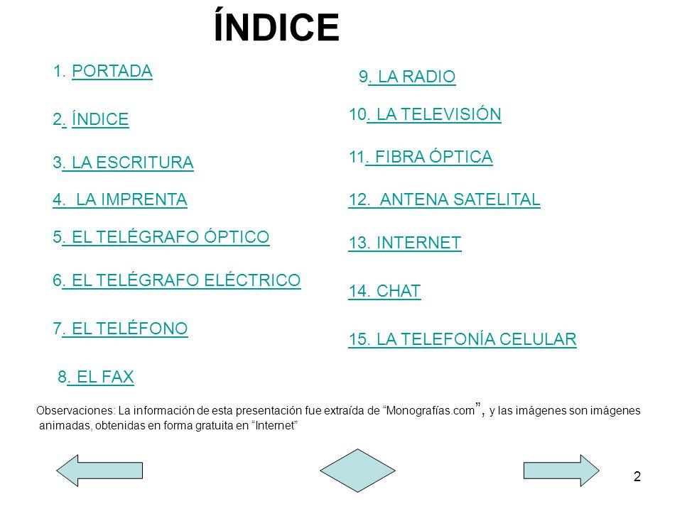 2 ÍNDICE 3. LA ESCRITURA. LA ESCRITURA 4. LA IMPRENTA. LA IMPRENTA 5. EL TELÉGRAFO ÓPTICO. EL TELÉGRAFO ÓPTICO 6. EL TELÉGRAFO ELÉCTRICO. EL TELÉGRAFO